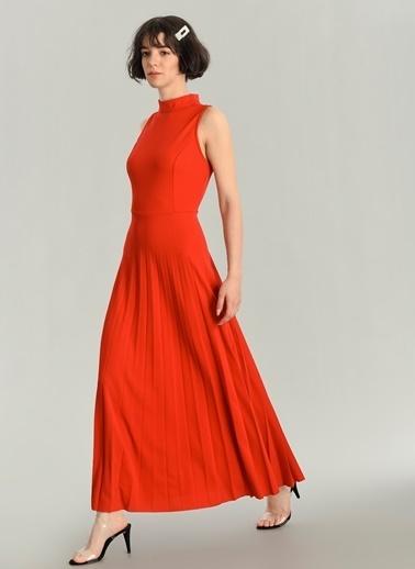 Agenda Piliseli Uzun Elbise Kırmızı